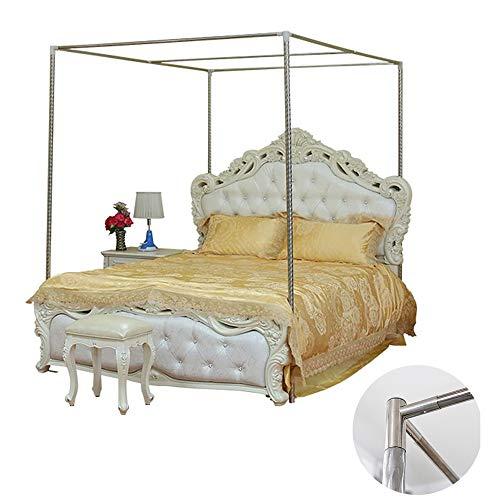 YOGANHJAT Moskitonetzhalter Vier Eckbett, Edelstahl Baldachin Moskitonetz Baldachin Rahmen Gestell für Twin/Full/Queen/King Size/California King,30mm,2×2.2m Bed