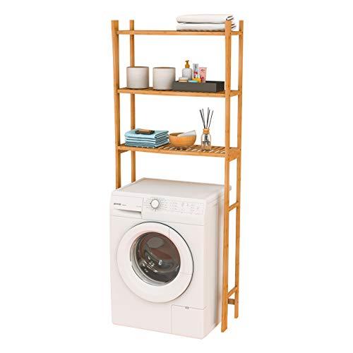 Toilettenregal Waschmaschinenregal Badregal Waschmaschinenschrank mit 3 Ablagen aus Bambu Freistehend 165x66x22,5cm