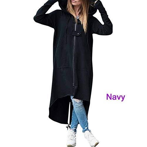 YUNGYE Manteau d'automne Femmes Capuche Sweats à Capuche Femme Robe Manches Longues Sweat-Shirt décontracté Lady Zipper Boucle Long T-Shirt surdimensionné (Color : Dark Grey, Size : XL)