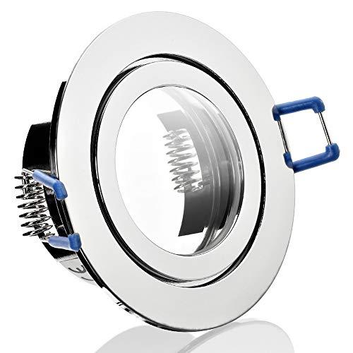 1 x Bad Einbaustrahler 12V inkl. MR16 Fassung Farbe Chrom IP44 Einbauleuchte Aqua Rund Deckenspot