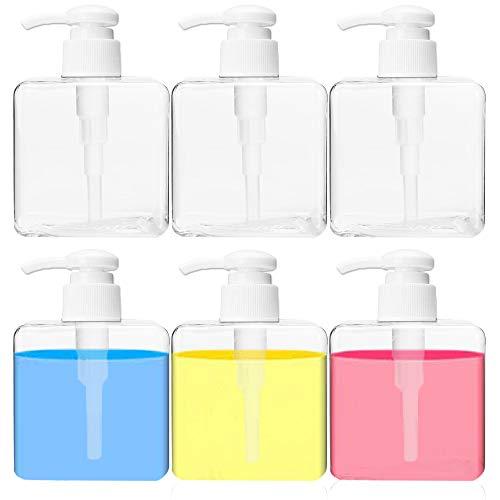 6 Pack 8oz Clear Plastic Square Pump Bottles,Empty Refillable Pump Bottle,Liquid Soap Dispenser Cosmetic Shampoo Lotion Container for Bathroom,Kitchen,250ml