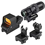 Feyachi RS-30 Reflex Sight with Flip Up Rear Front and Iron Sights and M36 1.5X - 5X Red Dot Sight Optics Magnifier
