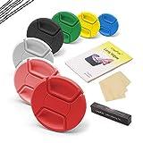 LingoFoto 43mm Lens Cap Bundle, 7 Colors Universal Snap on Front Centre Pinch Lens Cover Set with Lens Cleaning Kit