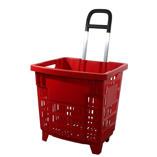 GERSO Einkaufstrolley 55 Liter rot mit Rollen ABS-Kunststoff Einkaufskorb fahrbar bunt