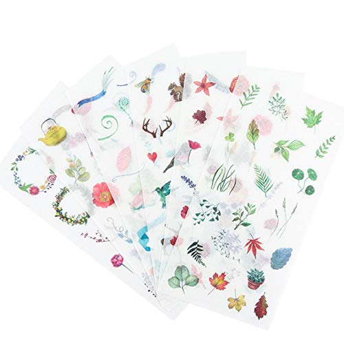 15packs/lot Green Fresh Leaves Plant Paper sticker/Flower Bird Scrapbooking Decoration DIY Diary Album School office Supplied