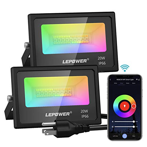 LEPOWER 20W RGB Smart LED Flood Lights Outdoor 2 Pack, Color Changing Dimmable WiFi APP Control, 2700-6000K & Multicolor, 1600LM, IP66 Waterproof Halloween Party Stage Uplights for Home, Garden, Yard