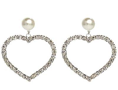 Fashion Jewelry Statement Imitation Pearl Crystal Rhinestone Big Heart Dangle Earrings