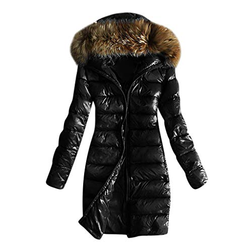 E-Scenery Women Coats, Outwear Quilted Winter Warm Fur Collar Hooded Thicken Jacket Tops Black