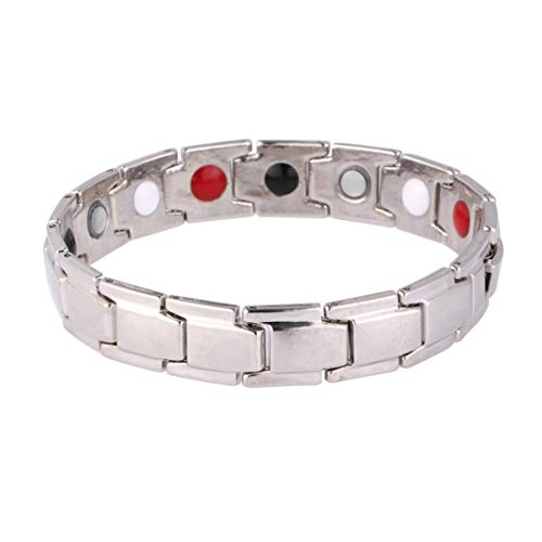 Artibetter bracciale magnetico da uomo bracciale in acciaio al titanio antidolorifico per artrite e tunnel carpale (argento)