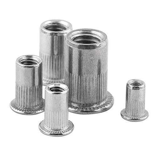 Tuercas de remache ciego 20 piezas M3-M8 Tornillos de inserción de tuerca de remache ciego roscados de cabeza plana de acero inoxidable(M8)