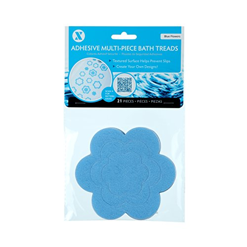 SlipX Solutions Adhesive Flower Safety Treads Add Non-Slip Traction to Tubs, Showers & Other Slippery Spots - Design Your Own Pattern! (Blue, 21 Count, Reliable Grip)