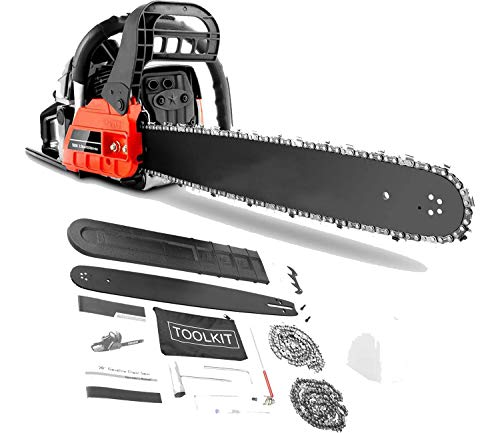 20' Chainsaw 58CC Petrol Chainsaw Gas Chainsaw 20 Inch 2 Stroke Gas Power Chain for Cutting Trees, Wood Chainsaw Gas Powered Cordless for Farm,Garden, Power Chain Saws with 2 Chains,Tool Kit (58CC)