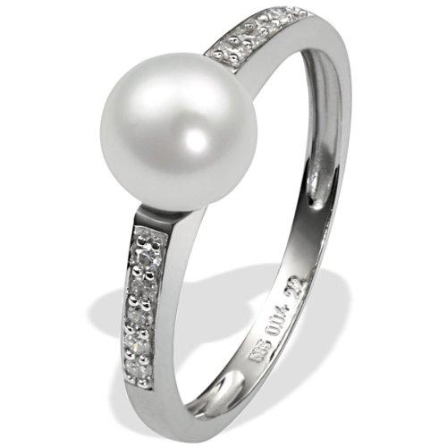 goldmaid Damen-Ring Weiss Gold 585 1 weisse Süsswasserperle 10 Diamanten (H) 0,04 Karat Grösse 58 Pe R3601WG58 Verlobungsring Diamantring