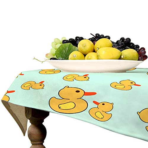 Soft Table Cloth for Family Dinners, Everyday Use, BBQ - Rubber Duck Spillproof Wrinkle Free Table Protectors Polyester Dinning Tabletop Decoration