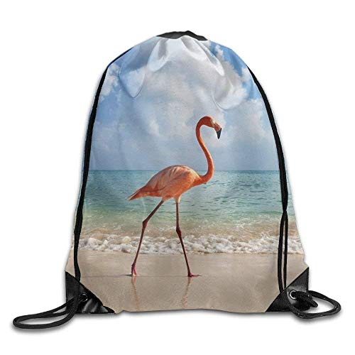 Etryrt Prämie Turnbeutel,Sporttaschen, Drawstring Backpack Gym Bag Travel Backpack Flamingo Beach Ocean Gym Equipment Bag for Teen Kids 16.9x14.2
