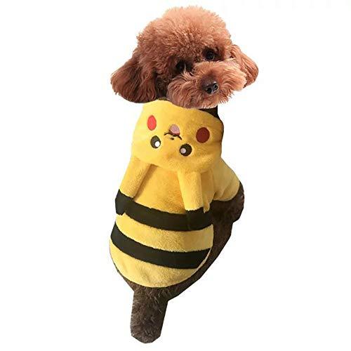 Topelec-huisdier hond kat kostuum grappige hond huisdier kleding pak Corsair Dressing up kerst halloween partij kleding winter warme jas voor honden kat, S, Pikachu