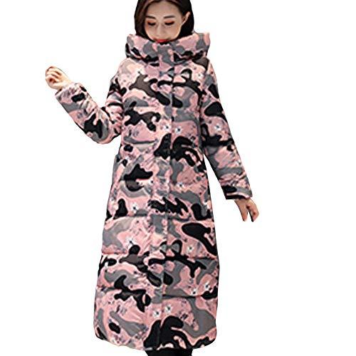 LoveLeiter Frauen Oberbekleidung Pelz Mit Kapuze Camouflage Mantel Damen Baumwoll Winterparka Winterjacke Stepp Jacke Mit Outdoorjacke Winter Steppjacke Lange ReißVerschluss Jacken extra(Rosa,XXL)