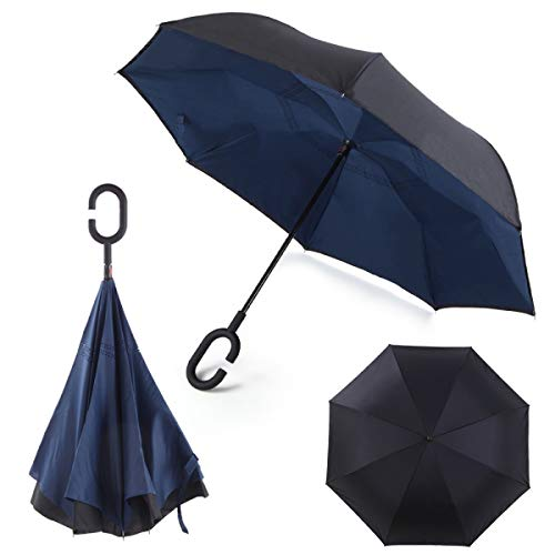 Paraguas invertido Plegable ADVERS Inverso Reverso Doble Capa Innovador Compacto Mango Forma C Resistente Tira Funda Viento Antiviento Negro Impermeable Coche Regalo Mujer Hombre Grande (Azul Marino)