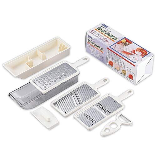 すっきりとした白を基調とした「味わい⾷房 ASC-606」。専用ケースにコンパクトに収納できるセット商品です。  金属の部分にはステンレスを使っているので、切れ味鋭く、衛生的に保てます。野菜の千切り、おろし、スライス、つま切りを作ることができます。