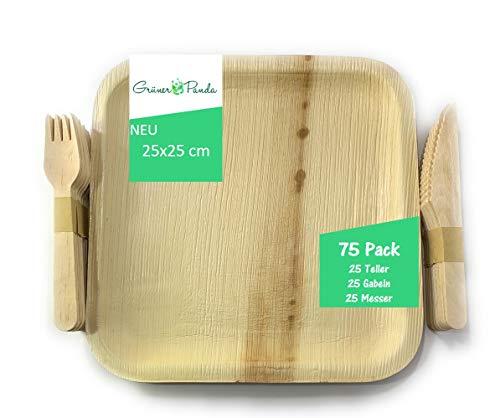 Grüner Panda 75stk Palmblatt Teller 25 Stück eckig 25x25cm, Gabel, Messer 16cm| Bio Einweggeschirr Palmblattgeschirr | 100% biologisch abbaubar umweltfreundlich Partygeschirr Einwegteller