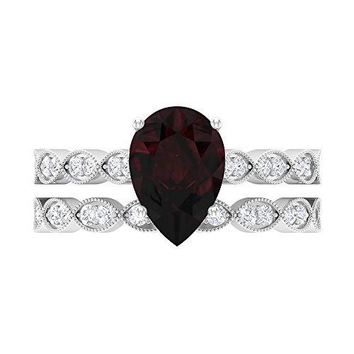 Anillo solitario de corte pera, 7 x 10 mm, anillo de eternidad de Moissanita D-VSSI, conjunto de anillos de boda de oro blanco de 14 quilates rojo