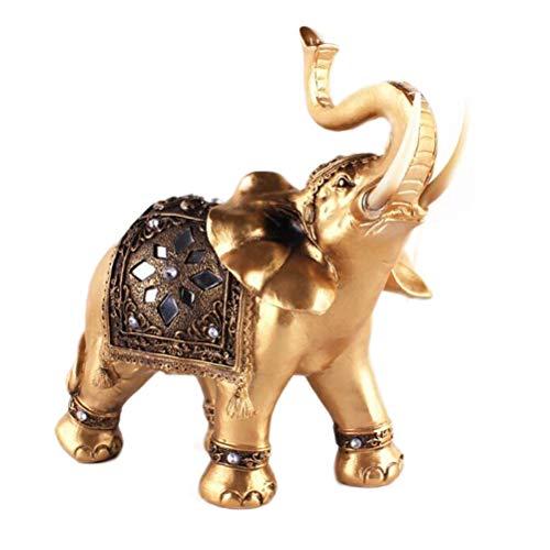 VOSAREA Crystal Rhinestone Figuras de Elefante Adornos Resina Estatua de Elefante Decoraciones de Mesa Escultura (Oro) - Tamaño Medio