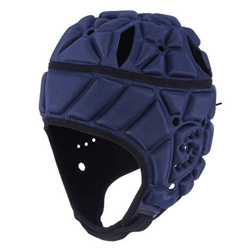 Surlim Soft Helmet Flag Football Rugby Helmet Scrum Cap Soft Shell Helmet Soccer Headgear Special Needs Head Protection for Youth Adults (Navy Blue, Large)