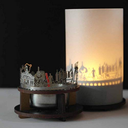 13gramm Saarbrücken-Skyline Windlicht Schattenspiel Premium Geschenk-Box Souvenir, inkl. Kerzenhalter, Kerze, Projektionsschirm und Teelicht