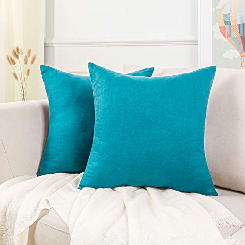 Topfinel Lot de 2 Housse de Coussin Canapé 35x35cm en Lin Décoratif, taie d'oreiller Turquoise, Coussin Super pour la Chambre et Le Salon de Maison Intérieure