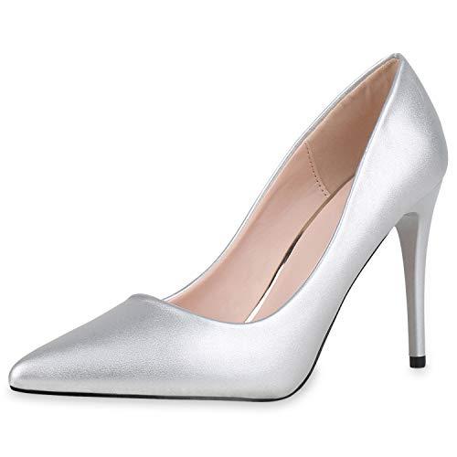 SCARPE VITA Damen Spitze Pumps Klassische Stiletto Schuhe High Heels Absatzschuhe Leder-Optik Partyschuhe 186274 Silber 36