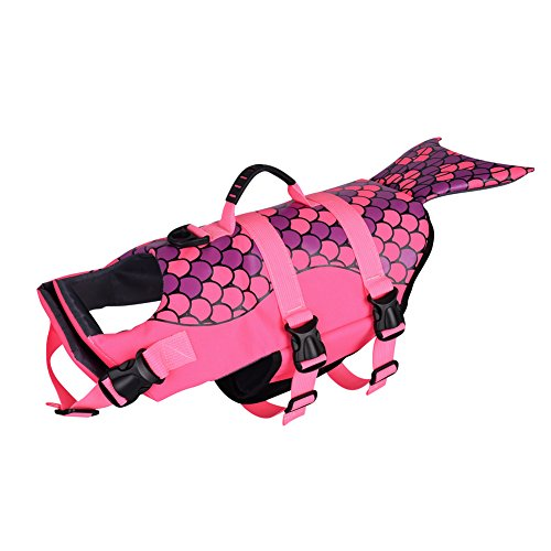 Petacc Dog Life Jacket Pet floatation vest Dog Lifesaver Dog Life Preserver for Water Safety at the Pool, Beach, Boating (M, Shark)