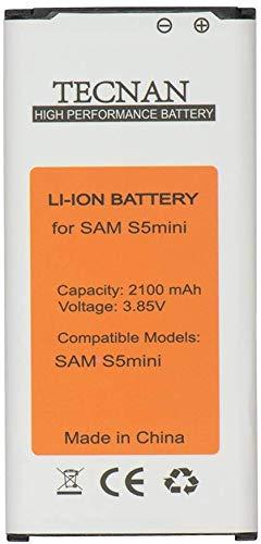 Tecnan batería de repuesto para Samsung Galaxy S5Mini SM-G800F sustituye a EG bg8000bbe funda batería de ion de litio 2100mAh batería battery batería Accu Teléfono (batería S5Mini)