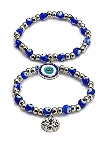 Pulseras de cuentas con el encanto del mal de ojo Pulsera extensible con cuentas de ojo azul Hamsa Mano de Fátima Pulsera de la suerte turca para mujeres hombres para protección y bendición, 2 piezas