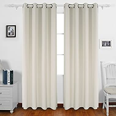 Deconovo Solid Grommet Curtains Blackout Panels Thermal Insulated Room Darkening Curtains for Living Room 52W x 84L Inch Beige 2 Panels