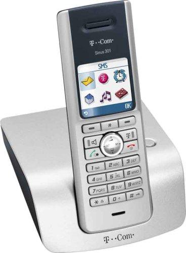 T-Com Sinus 301 schnurloses DECT-Telefon mit Farbdisplay lichtsilber/Schwarzblau