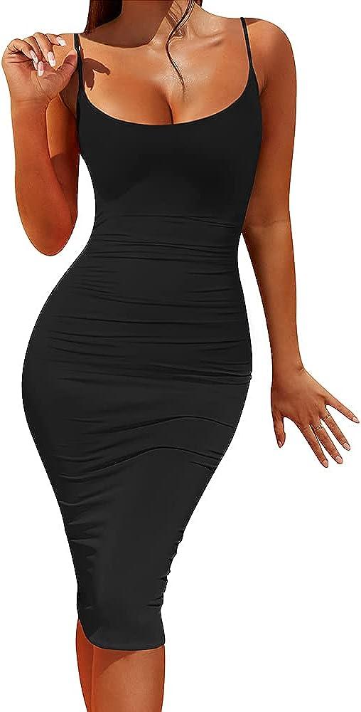 LCNBA Spaghetti Strap Bodycon Midi Dress for Women- Backless Sleeveless Slim Fit Tight Party Club Tank Dress