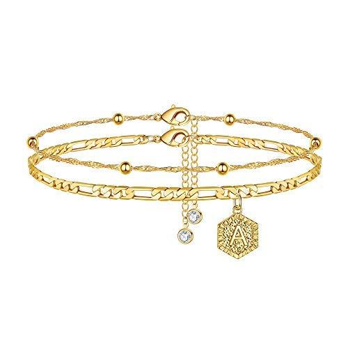 Tobilleras para mujer con inicial, de oro de 14 quilates, con cadena Figaro con letra inicial, para mujer, hechas a mano con capas, pulseras de tobillo personalizadas, joyería de pie