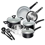 Duxtop 12-Piece Nonstick Cookware Set, Dishwasher Oven Safe Ceramic Pots and Pans Set with Glass...