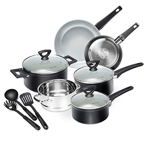 Duxtop 12-Piece Nonstick Cookware Set, Dishwasher Oven Safe Ceramic Pots and Pans Set with Glass Lid, Impact-bonded Technology
