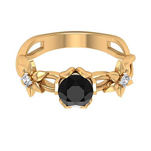 3/4 CT Black Onyx Solitaire Ring, HI-SI Diamond Engagement Ring, Gold Minimalist Ring, Gold Flower Cluster Ring, 10K Yellow Gold, Size:UK H1/2