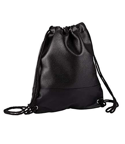 SIX Damen Tasche, Rucksack, Turnbeutel, Glitzer, Lederoptik, Kordeln, schwarz, Silber (726-572)