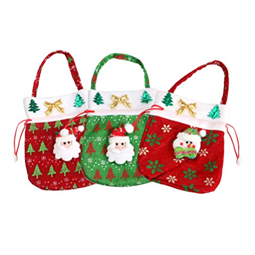 Toddmomy Xmas Tote Bags 3D Santa Claus Snowman Tree Fabric Bag Storage Pouch Cartoon Printed Candy Holders for Kids Boys Girls Home Party Gathering Tool 3pcs