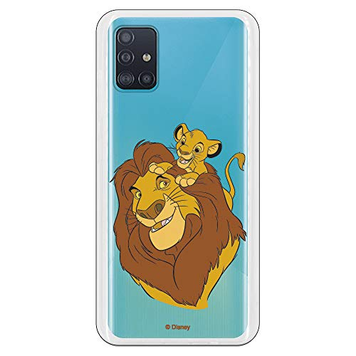 Funda para Samsung Galaxy A51 5G Oficial de El Rey León Mufasa y Simba Silueta. Protege tu móvil con la Carcasa para Samsung de Silicona Oficial de Disney.