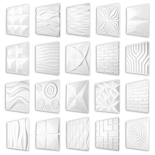 HEXIM 3D Paneele 50x50cm - Große Auswahl an detaillierten PVC Kunststoffplatten für effektvolle Wand- & Deckengestaltungen - Perfect HD075