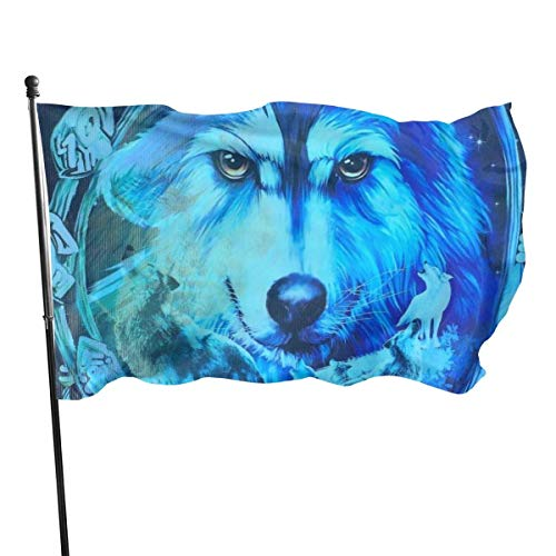 Drapeau de Polyester de 3 x 5 Pieds Wolf Dream Blue Galaxy Fly Breeze, Drapeaux de Plage durables et résistants à la décoloration avec en-tête et œillet en Laiton, Facile à Utiliser