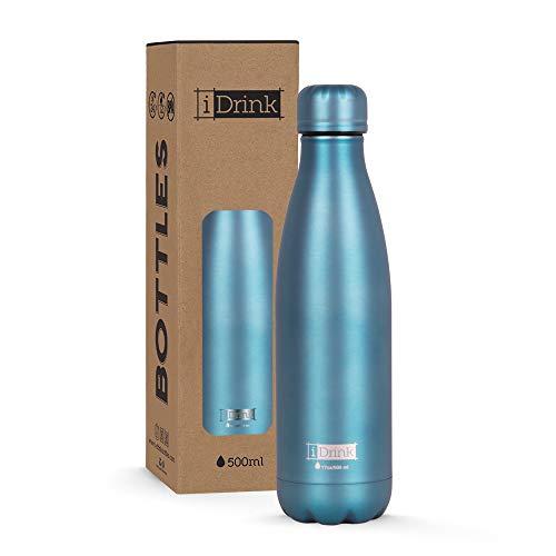 I-Drink ID0024 - Botella térmica de Acero de Doble Pared (500 ml), Verde Metalizado