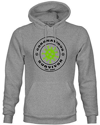 Ink Trendz Quarantine Virus 2020 Pullover Mid-Weight Hoodie Sweater (Large, Corona Survivor)