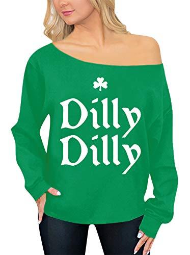 Spadehill Moletom feminino com ombro de fora do Dia de São Patrício, Dilly Dilly, S