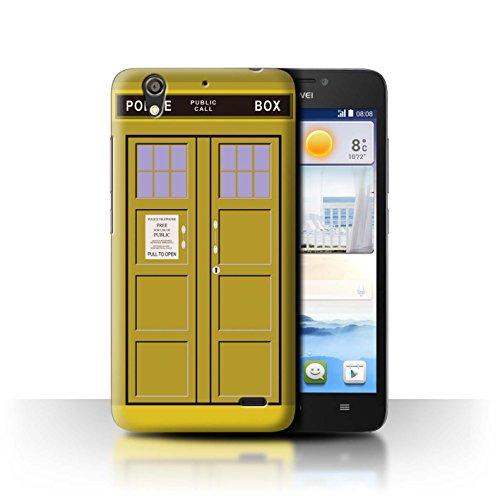 Hülle Für Huawei Ascend G630 Tardis Handyzelle Kunst Gelb Design Transparent Ultra Dünn Klar Hart Schutz Handyhülle Hülle