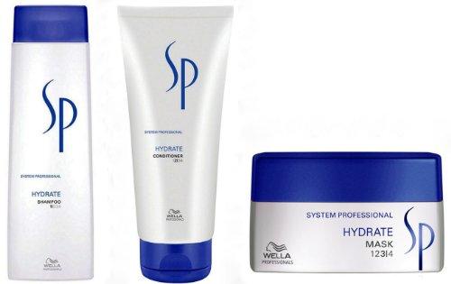 Wella SP Soins hydratants Trio Hydrate avec shampooing 200 ml, après-shampooing 250 ml et masque 200 ml